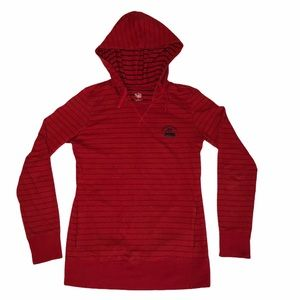 Nike The Athletic Dept Women Red Striped Hoodie M